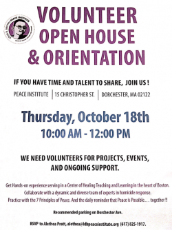 Flyer for the LDP Peace Institute's Volunteer Open House and Orientation